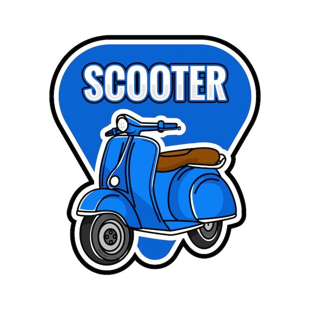 Scooter blauw embleem Premium Vector