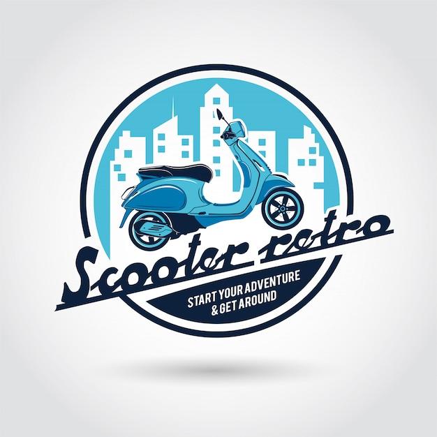 Scooter retro logo sjabloon. Premium Vector