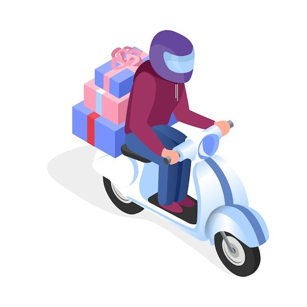 Scooterbestuurder met geschenken isometrische illustratie Premium Vector