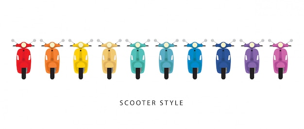 Scooterstijl en kleurrijk op wit Premium Vector