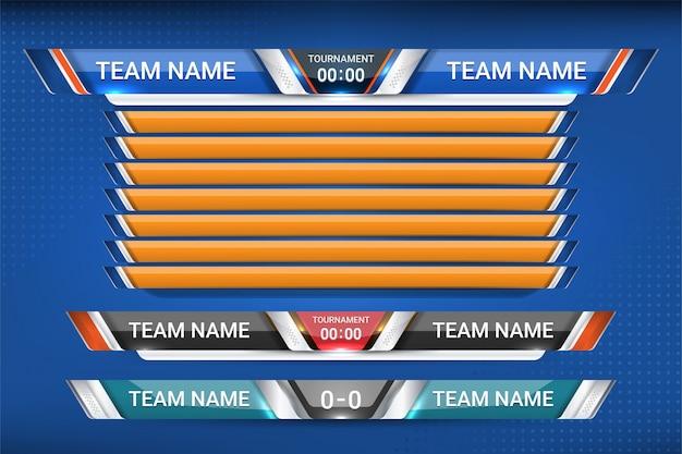 Scorebord broadcast grafische en lagere thirds Premium Vector