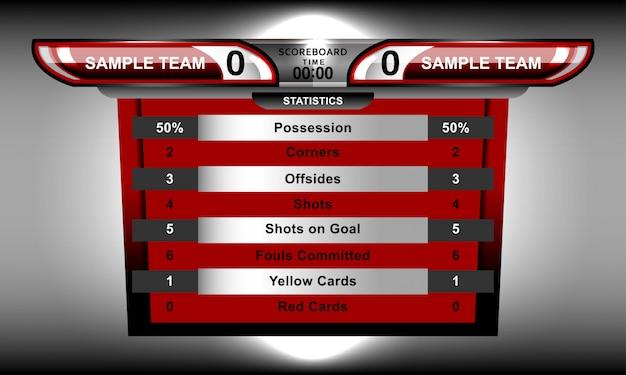 Scorebord en onderste derde voor sportvoetbal en voetbal Premium Vector
