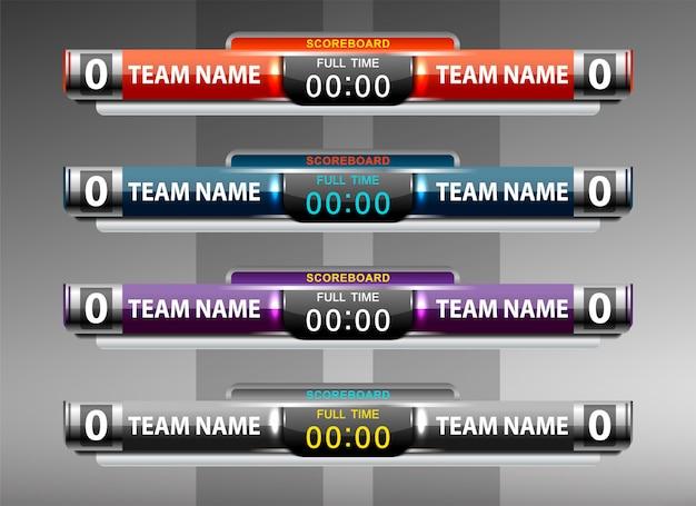 Scorebord sport sjabloon voor voetbal en voetbal Premium Vector