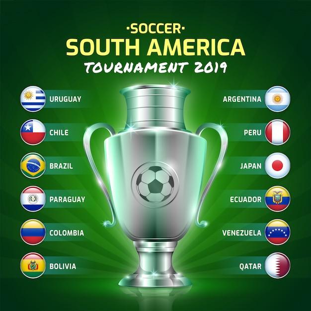 Scorebord uitgezonden groep voetbal zuid-amerika's toernooi 2019 Premium Vector