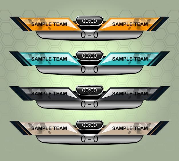 Scorebordsportsjabloon voor voetbal en voetbal Premium Vector