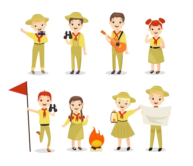 Scouts kinderen met wandeluitrusting Premium Vector