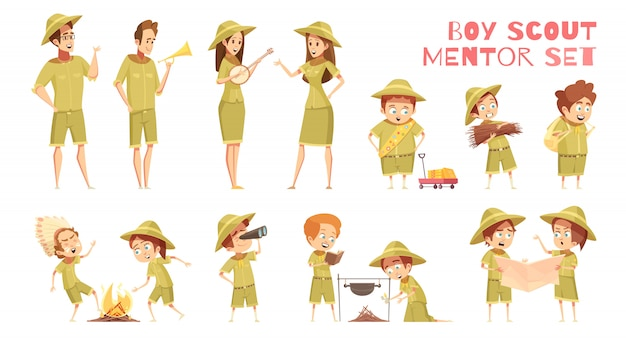 Scouts mentoren cartoon icons set Gratis Vector