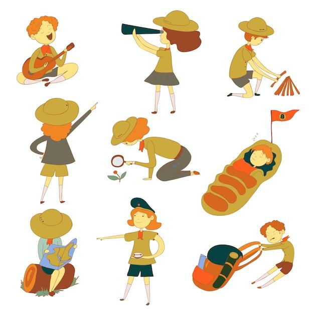 Scouts voor verschillende activiteiten. observatie, slaap, rust. illustratie op witte achtergrond. Premium Vector