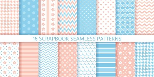Scrapbook naadloze patroon set. trendy textuur. Premium Vector