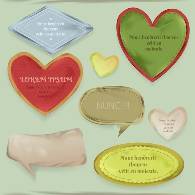 Scrapbooking elementen illustratie van vintage papierresten, hart frames en decoratief etiket Gratis Vector