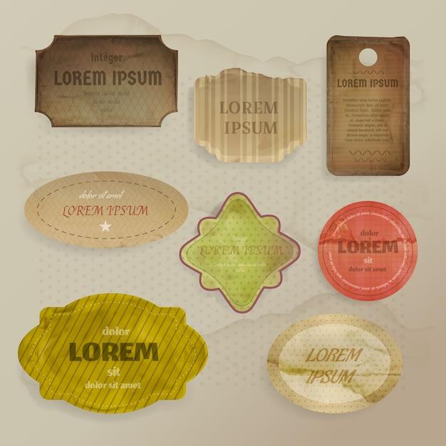 Scrapbooking papier elementen illustratie van vintage labels of tags met retro-stijl frames Gratis Vector
