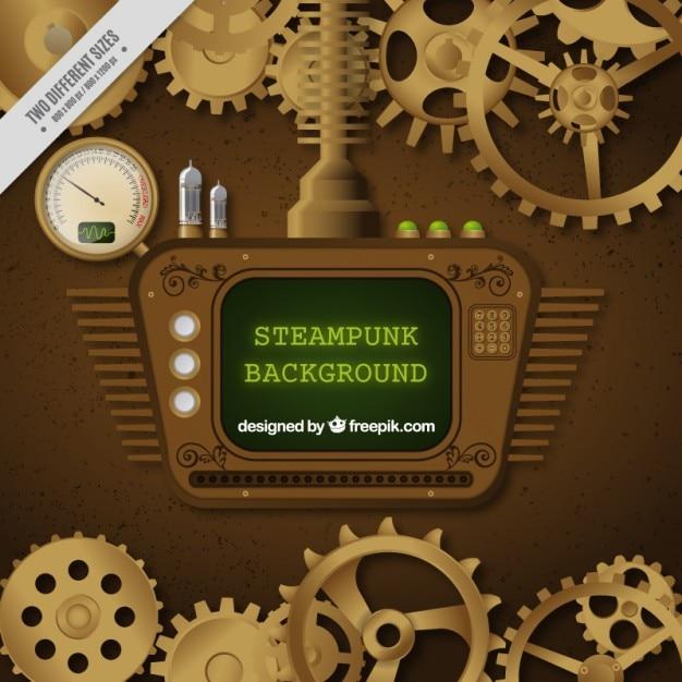 Screen in steampunk ontwerp Gratis Vector