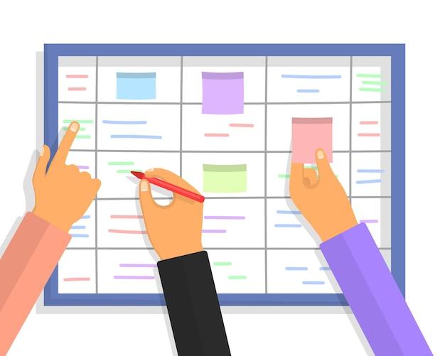 Scrum-taakbordconcept met menselijke handen met kleurrijke kleverige papieren en markeringen Premium Vector