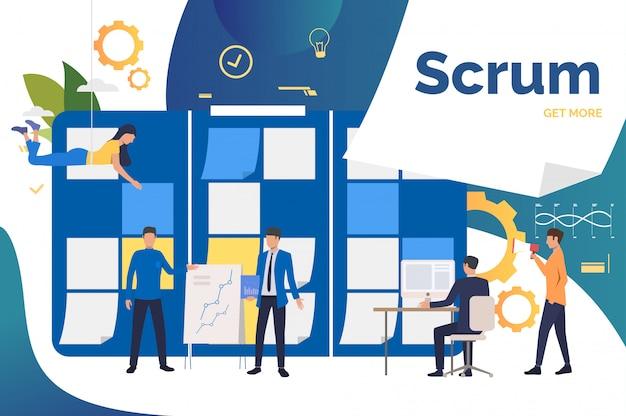 Scrumteam werkt aan een project op kantoor Gratis Vector