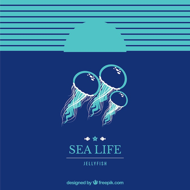 Sea life achtergrond Gratis Vector