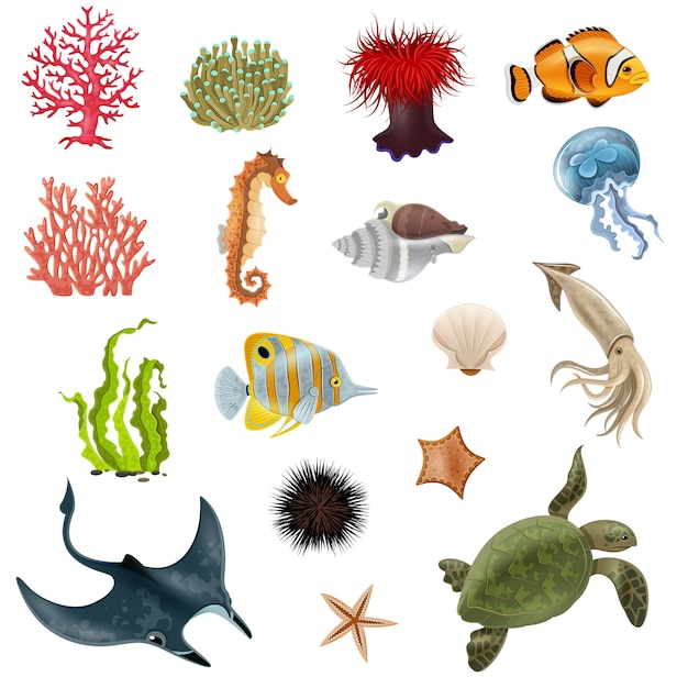 Sea life cartoon icons set Gratis Vector