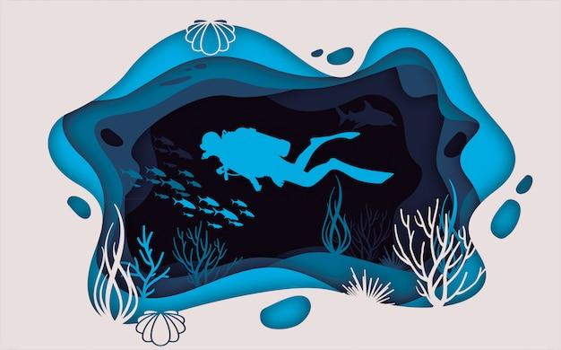Sea life paper blue Premium Vector