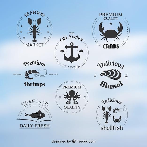 Seafood badges collectie Premium Vector