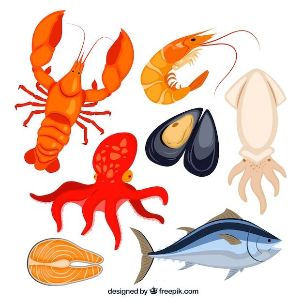 Seafood collectie Gratis Vector