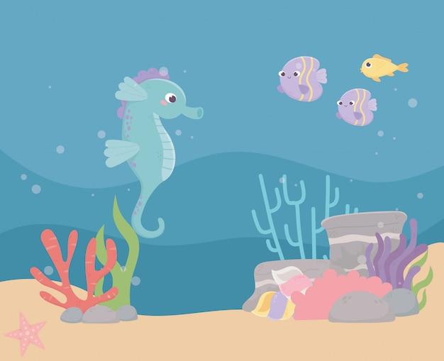 Seahorse vist zandstenen bubbels leven koraalrif cartoon onder de zee Premium Vector