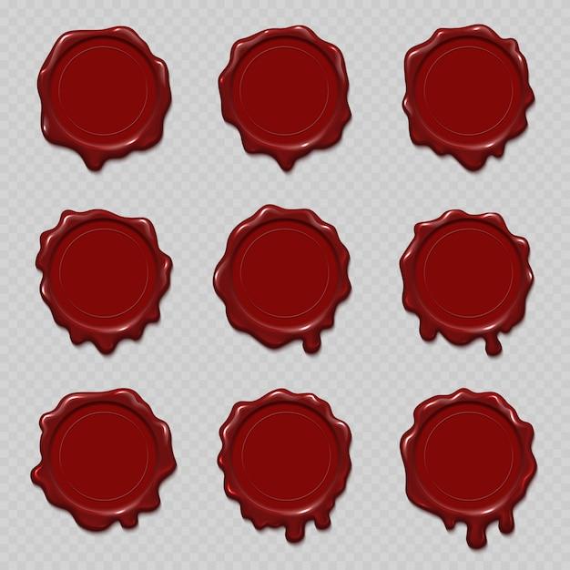 Seal wax stempels vector set voor certificaat en document Premium Vector