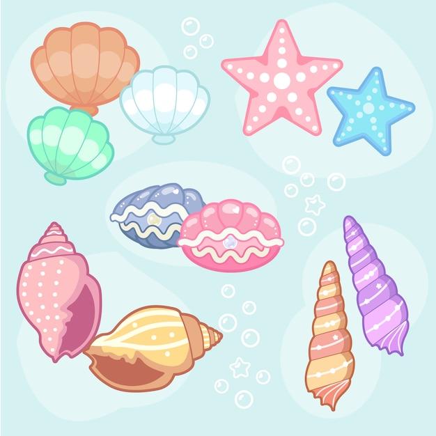 Seashell design collectie Gratis Vector
