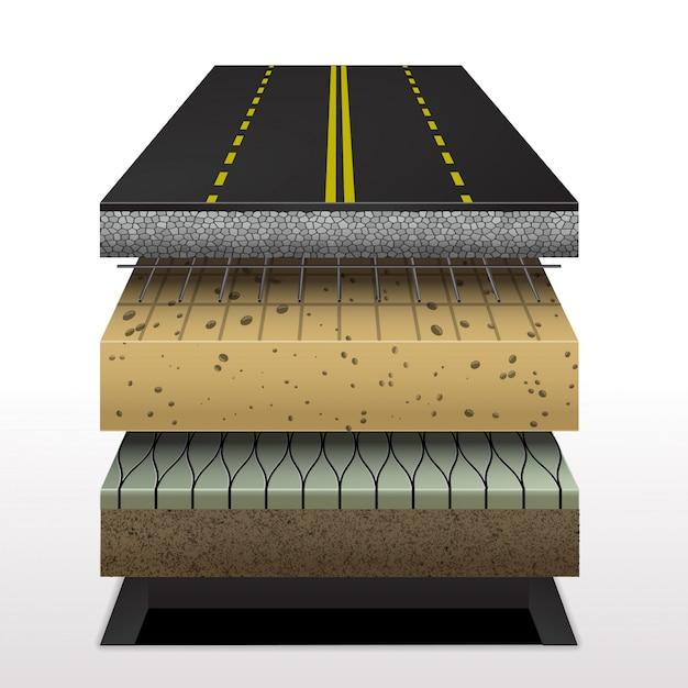 Sectie asfaltweg Premium Vector