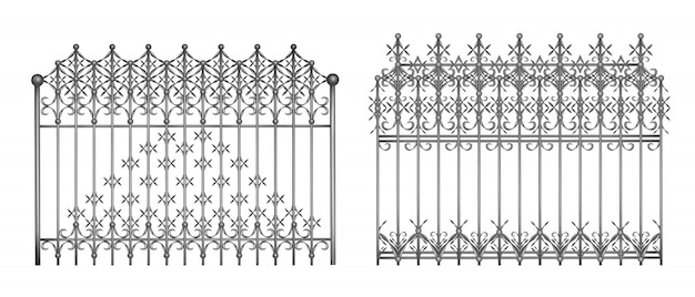 Secties van decoratieve gesmede omheining of poorten met elegant, retro realistisch ornament Gratis Vector
