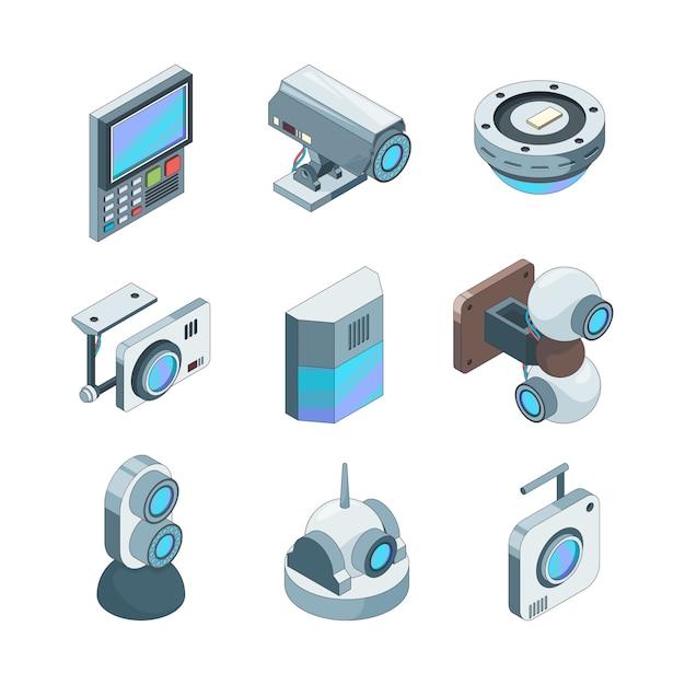 Secure cam isometrisch. cctv home security camera's elektronische systemen illustraties Premium Vector