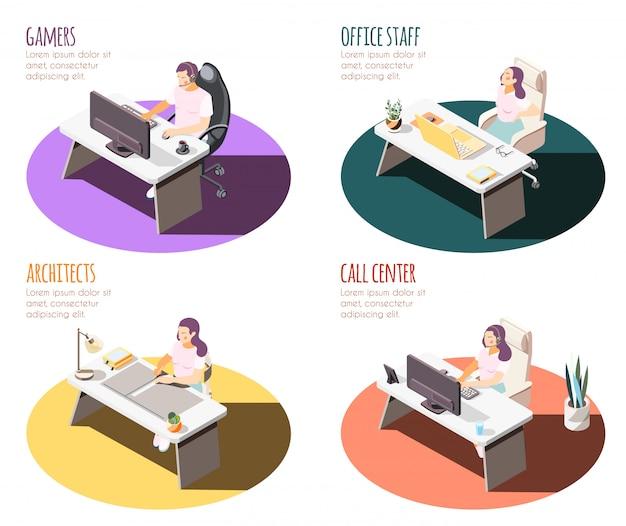 Sedentaire levensstijl isometrische 4x1 set composities met tafels voor werkplekken en mensen met tekst Gratis Vector