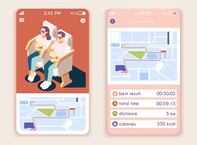 Sedentaire levensstijl isometrische mobiele app-interface met verticale composities brengt calorieënteller en zittende bioscoopbezoekers in kaart Gratis Vector