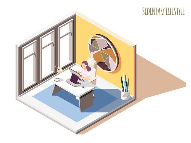 Sedentaire levensstijl isometrische samenstelling met tekst en vrouwelijk karakter zittend aan tafel in haar werkkamer Gratis Vector