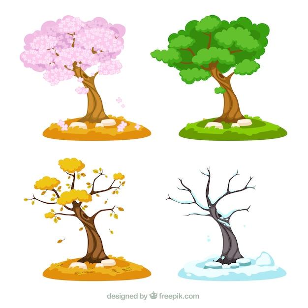 Seizoensgebonden bomen Gratis Vector
