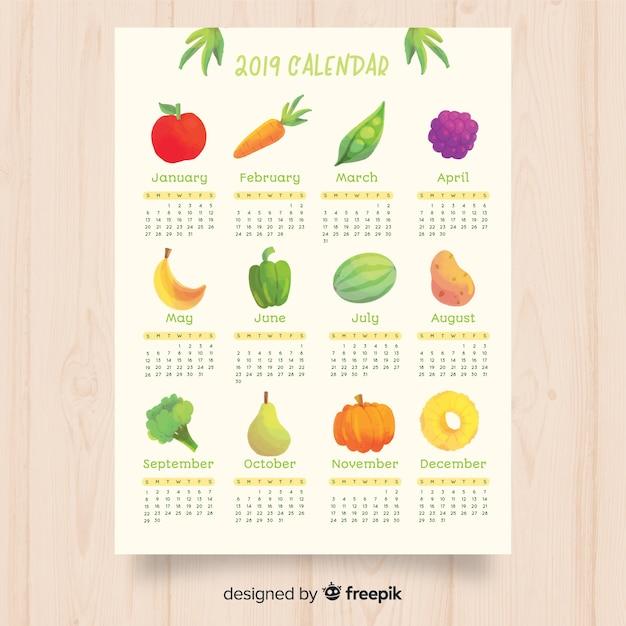 Seizoensgebonden groente- en fruitkalender Gratis Vector