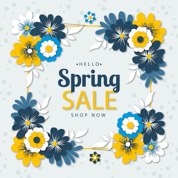 Seizoensgebonden lente verkoop in papier stijl concept Gratis Vector
