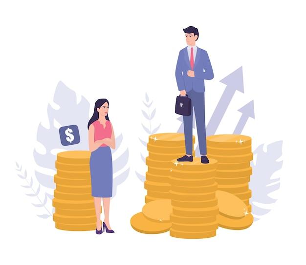 Seksisme bedrijfsconcept. genderkloof en ongelijke betaling. zakenman en zakenvrouw op stapels munten. oneerlijkheid en carrièreprobleem van de vrouw. Premium Vector