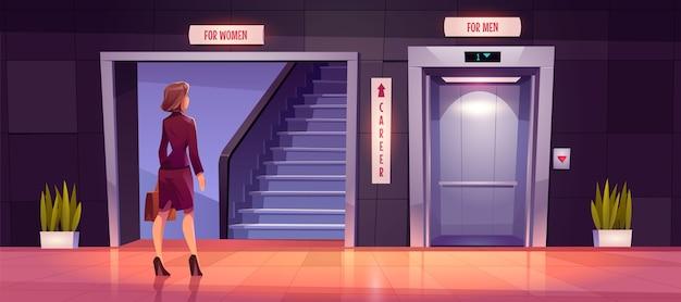 Seksisme en discriminatie van vrouwen bij carrièregroei. Gratis Vector