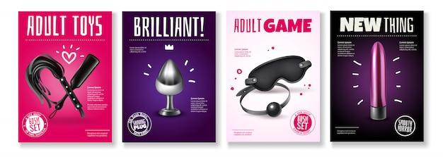 Seksspeeltjesaffiche met reclametitels en toebehoren voor volwassen spelenillustratie die wordt geplaatst Gratis Vector