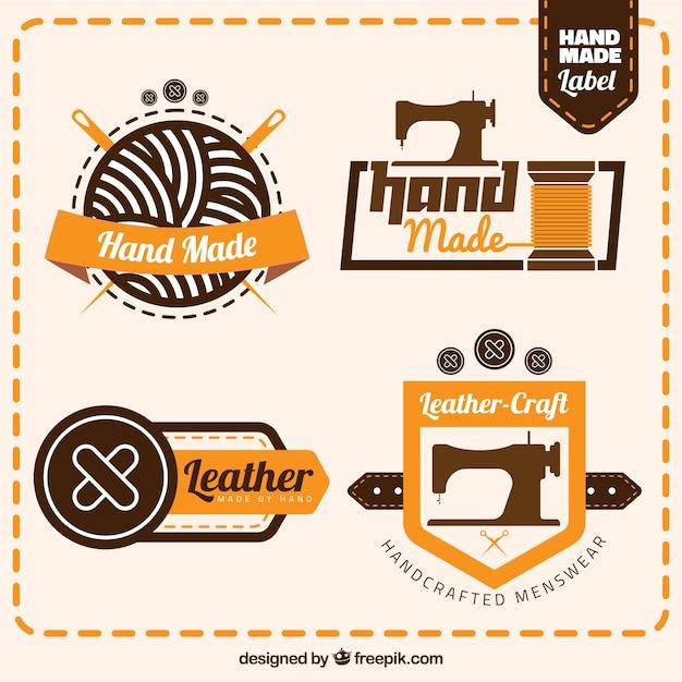 Selectie van de badges voor het naaien Gratis Vector
