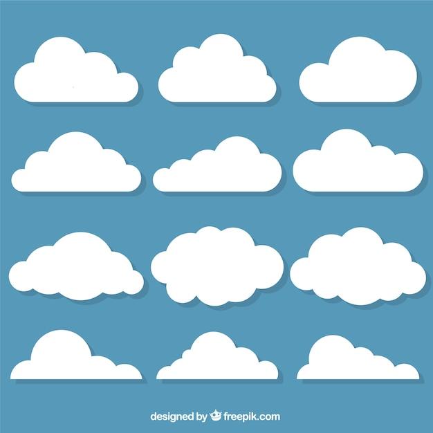 Selectie van decoratieve wolken in plat design Gratis Vector