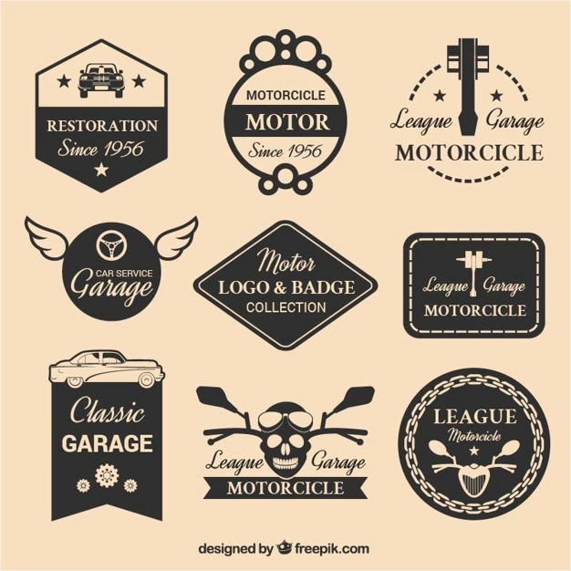 Selectie van negen motor logos Premium Vector