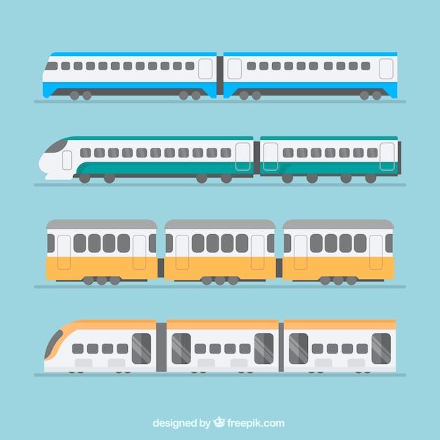 Selectie van treinen in platte ontwerp Gratis Vector