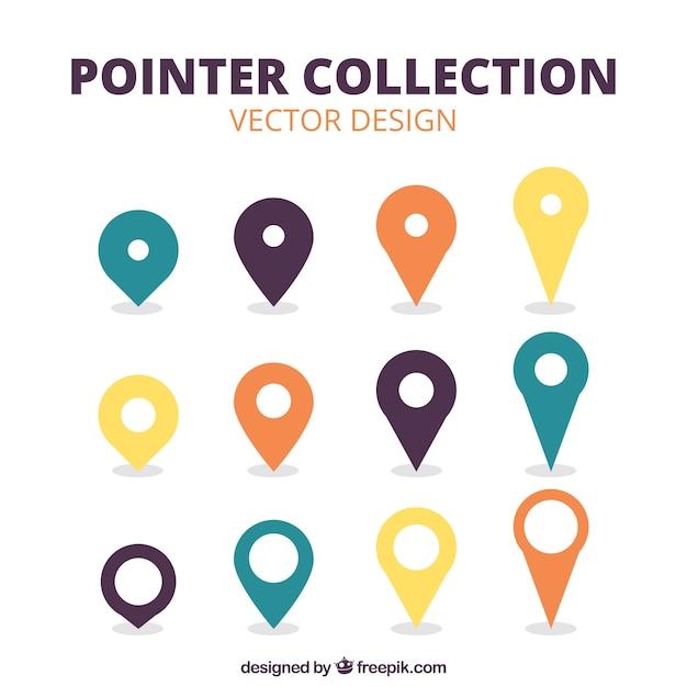 Selectie van verschillende pointers in vlakke stijl Gratis Vector