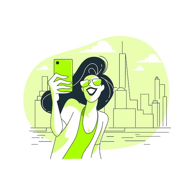 Selfie concept illustratie Gratis Vector