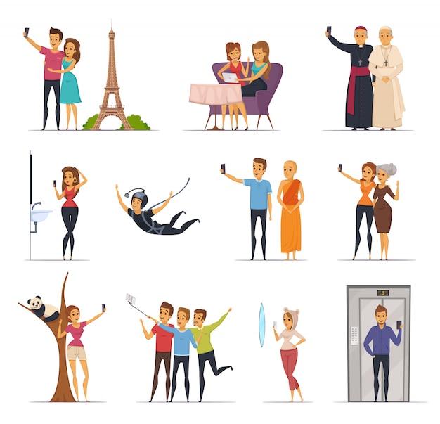 Selfie en mensenpictogrammen met de vlakke geïsoleerde vectorillustratie die van reissymbolen worden geplaatst Gratis Vector