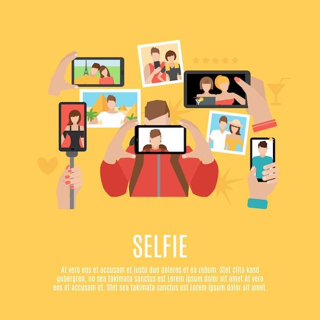 Selfie foto's plat pictogrammen samenstelling poster Gratis Vector