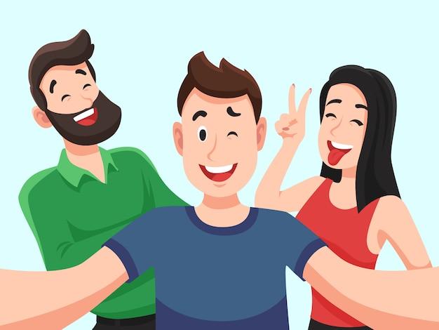 Selfie met vrienden. vriendschappelijke glimlachende tieners die het portret van de groepsfoto maken. gefotografeerd gelukkige mensenbeeldverhaal Premium Vector