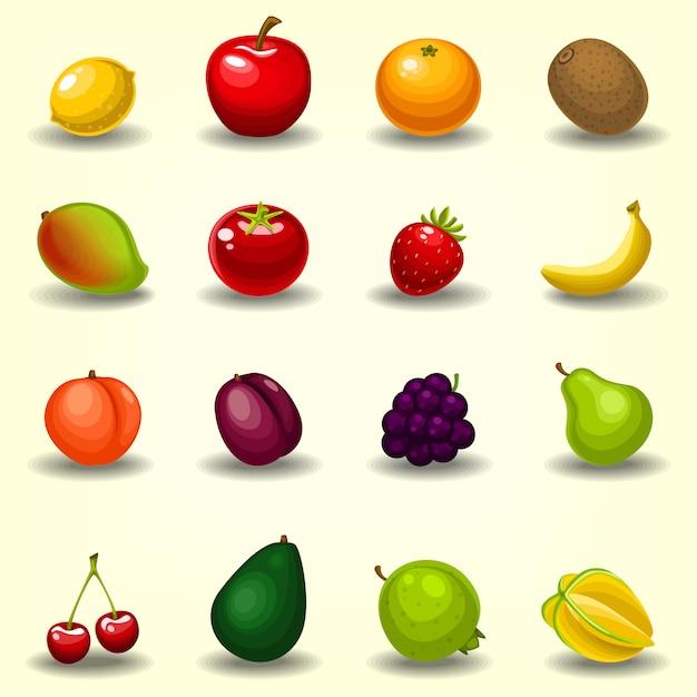 Semi-realistische cartoon fruit collectie ingesteld sjabloon Premium Vector