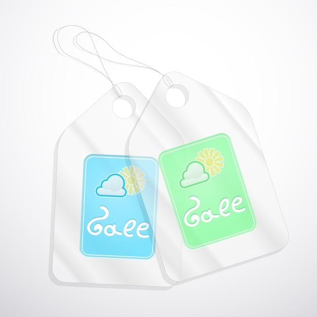 Semi-transparante tags voor verkoop in de lente op wit. Gratis Vector