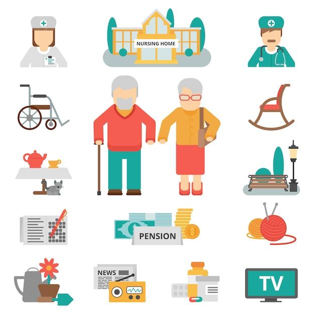 Senior levensstijl plat pictogrammen instellen Gratis Vector